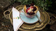 Recipe for ice-cream tea. Walnut scones, with honeycomb, berries and ice cream.