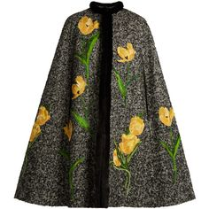 Dolce & Gabbana Tulip-appliqué mink-trimmed tweed cape (94 475 UAH) ❤ liked on Polyvore featuring outerwear, coats, cape, yellow cape, tweed cape coat, cape coat and tweed cape