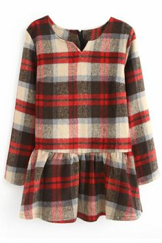 Romwe Check V-neck Pleated Light-coffee Dress