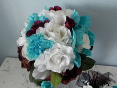9 Piece Wedding Bridal Bouquet Roses Peonies by BountifulBouquets Rose Bridal Bouquet, Silk Wedding Bouquets, Fall Bouquets, Bridal Flowers, Silk Flowers, Silk Flower Centerpieces, Simple Centerpieces, Wedding Reception Layout, Wedding Picture Frames