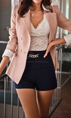Lapel Collar Long Sleeves Color Block Sweet Style Polyester Blazer