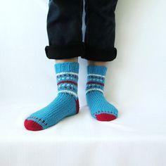 Men Socks Hand Knit socks Wool socks Handmade blue socks Warm socks Christmas gift