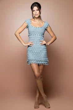 Vestido Crochet St. Tropez Céu - Vanessa Montoro - vanessamontoro