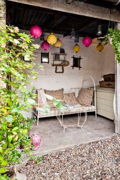 Bordeaux Home by Julien Fernandez Outdoor Parties, Outdoor Rooms, Outdoor Gardens, Outdoor Living, Outdoor Furniture Sets, Outdoor Decor, Outdoor Sofa, William Morris, Porch Garden