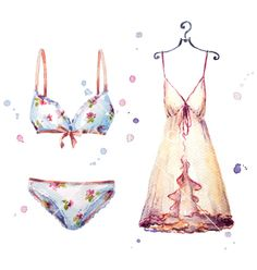 Watercolor lingerie hand painted vector - by kamenuka on VectorStock®