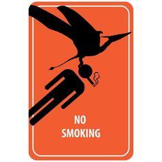 No Smoking Sign - Dinosaur Attack (Acrylic Wall Clock), Black (Plastic)