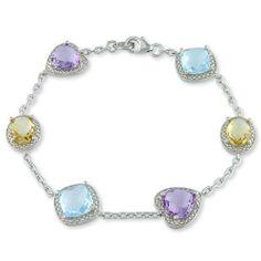 Sterling Silver 11 1/5 CT TGW Multi color Gemstone Bracelet Amour. $94.99