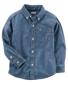 9M Carters Blue Charters Blue Boys Long Sleeve Chambray Button-Front Shirt