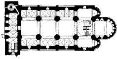 San Vicente de Cardona. Tres naves y tres ábsides semicirculares interior y exteriormente. La nave central se cubre con bóveda de cañón con arco...