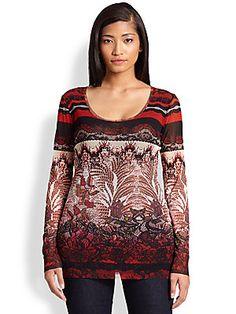 Fuzzi, Sizes 14-24 Batik-Print Tulle Top
