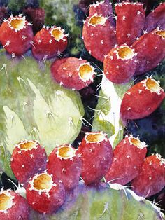 """Prickly Pear by Sue Archer (watercolor) Watercolor Succulents, Watercolor Cactus, Cacti And Succulents, Watercolor Paintings, Watercolors, Cactus Painting, Cactus Art, Cactus Drawing, Desert Art"
