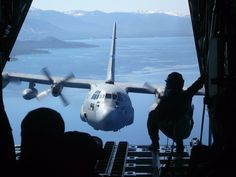 """C-130 taken over Lake Tahoe, CA out of the back of our C-130"""