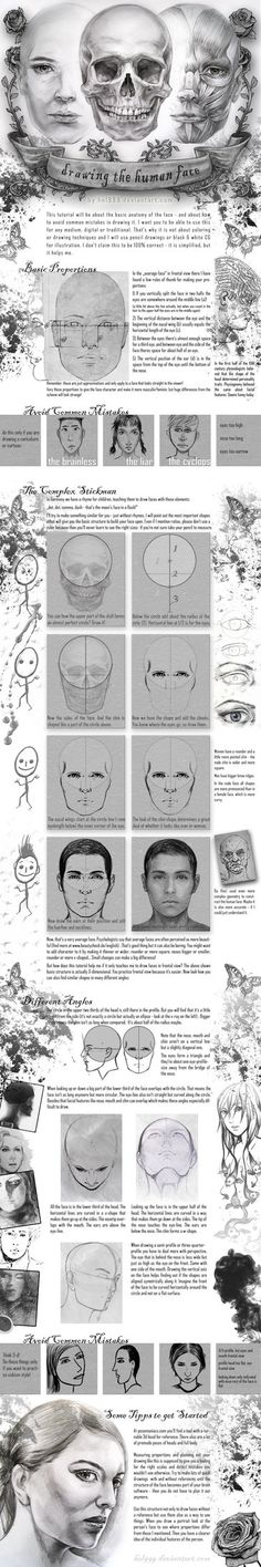 Face Drawing Tutorial by =hel999 on deviantart.  Excellent!