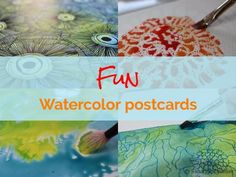 Fun watercolor postcards, free tutorial
