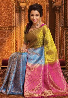 Pothys proudly presents the best destination for Silk Sarees online shopping. Buy Pure silk sarees, wedding silk sarees online and make your D - days festive. Absolute fashions including dresses for women, Men and Kids. Bridal Sarees South Indian, Bridal Silk Saree, Indian Silk Sarees, Indian Bridal Outfits, Satin Saree, Indian Fashion Trends, India Fashion, Women's Fashion, Ethnic Fashion
