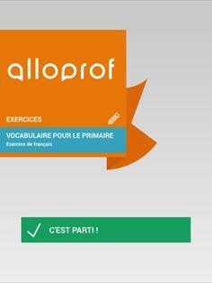 Dictée de mots de vocabulaire Alloprof par Allô prof Chart, Word Study, Vocabulary Words
