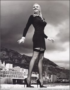 Nadja Auermann photographed by Helmut Newton in Monte Carlo, 1990s.