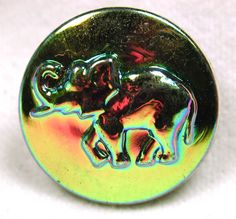 """Czech Glass Button Elephant with Iridescent Luster about 7/8"""" FREE US SHIPPING"""