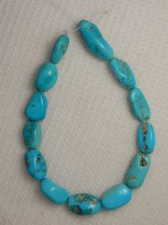 "Sleeping Beauty Turquoise Loose Nugget Beads Blue Jewelry Craft  6"" Std # 29A #Erthart #Southwest"