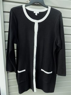 95462f860186f 2X Charter Club Open-Front Long Cardigan 100% Cotton NEW Black. Plus Size  Womens ClothingClothes ...