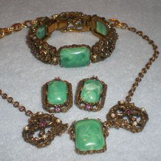 Antique Necklace Bracelet Clip Earring Set Filigree Green Jade Color Cabochon by Izzyoma on Etsy