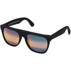 Super Flat Top M3 (Black Matte/Rainbow Ombre Mirror) Fashion... ($209) ❤ liked on Polyvore featuring accessories, eyewear, sunglasses, plastic lens glasses, plastic sunglasses, plastic glasses, mirror sunglasses and matte sunglasses