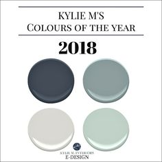 Colours of the year, 2018. Kylie M Interiors E-design, colour expert and online consultant