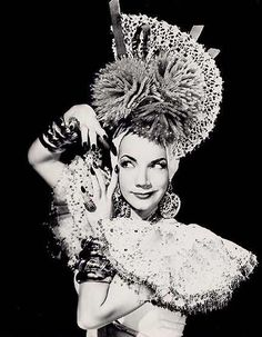 Carmen Miranda, the remarkable and often elaborately costumed Brazilian samba singer, who was very popular in the 1940s and 1950s.