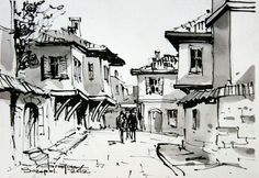 Cityscape Drawing, City Drawing, Sketch Painting, Watercolor Sketch, Watercolor Paintings, Sketch Art, Sketches, Croquis Architecture, Watercolor Architecture