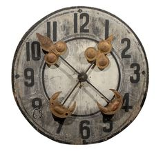 Large French Wooden Clock Face