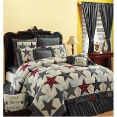 America Twin Patriotic Americana Country Patchwork Star Quilt