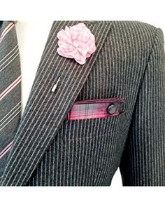 Pink, Gray and White Plaid with Gray Button Men's Pocket Square by The Detailed Male
