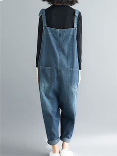 Women's Baggy Overalls & Dungarees in Vibrant Colors and Funky Styles Page 2 - Eva Trends Funky Fashion, Denim Fashion, Girl Fashion, Fashion Outfits, Cute Overalls, Overalls Women, Denim Jumpsuit, Dungarees, Ripped Denim