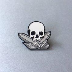 Skull And Crystals Enamel Pin by MidnightAndVine on Etsy