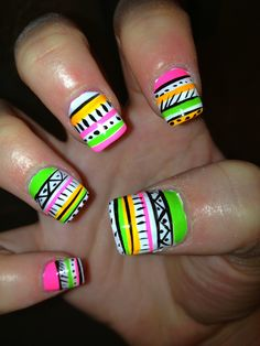 Neon tribal nails design... Cute for summer!