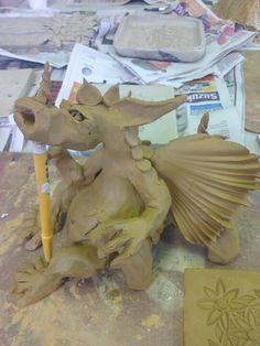 Making clay dragons