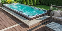 Want to get a new hot tub or need new pool supplies? The Spa Shoppe is your one stop store in the Durham area! Hot Tub Deck, Hot Tub Backyard, Swimming Pools Backyard, Pool Landscaping, Swimming Spa, Lap Pools, Indoor Pools, Pool Decks, Mini Piscina