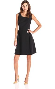 Lark & Ro Women's Sleeveless Pleated Flare Dress, Black, 0 ❤ Lark & Ro