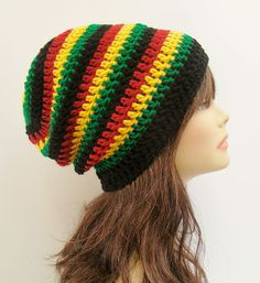 FREE SHIPPING - UNISEX Slouchy Crochet Beanie Hat - Rasta - Red, Yellow Gold, Green, Black. $25.00, via Etsy.