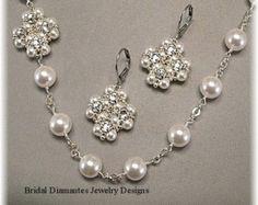 Elección de blanco o crema Swarovski perla y por BridalDiamantes
