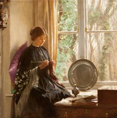 """Knitting (By the Window)"", c. 1915, by Harold Knight (English, 1874-1961)"