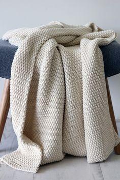 Beautifully Cosy Moss Stitch Cotton Throw - Ivory