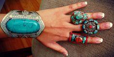 Tibetan Ring Turquoise & Coral Ring.