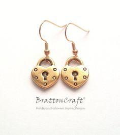 Antique Gold Heart Lock Earrings  Gold Heart Lock by BrattonCraft