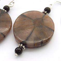 Gemstone earrings onyx sterling silver by BlueForestJewellery, $25.00