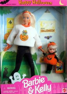 Happy Halloween BARBIE & KELLY Gift Set Special Edition (1996) by Mattel. $16.49. Barbie & kelly gift set. Barbie wears black fitted slacks and a loose white sweatshirt with orange trim and a decal on the front with a cat coming out of a pumpkin.  She has thigh length blonde hair and carries a flashlight.  Kelly is dressed as a pumpkin with green elf-like shoes and carries a paper trick or treat bag with a cat pictured.  Kelly has long light blonde hair like Barbie.   The box bac...