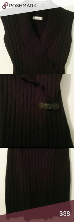 Calvin Klein sleeveless sweater dress Excellent condition, like new worn 1x, size L in black, don't have a good camera to show how good it looks in person but very beautiful v neck with ruffling, side belt clip accent for movement at the hip/waist area. Black is true black which doesn't reflect well in photos.THANK you for your time and shopping my page! Please don't hesitate to ask any questions or for more pictures as I  am gladly to honor all inquires as I do not accept returns! Calvin…