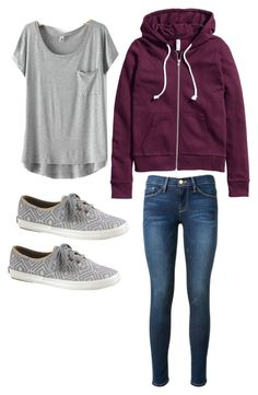 Lazy day outfit by madisenharris on Polyvore featuring H&M, Frame Denim and Keds