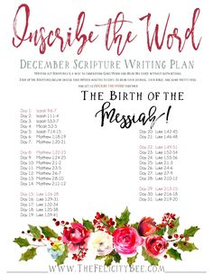 Join us this month as our December Scripture Writing plan focuses on THE BIRTH OF THE MESSIAH. Scripture Writing is a wonderful practice by which we grow closer to the Lord furthering our relationship and understanding of His Word. This Scripture Writing Plan will celebrate the events surrounding The Birth of Jesus in this Christmas Bible Study.