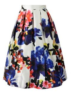 Shop Multicolor Floral Pleated Midi Skirt from choies.com .Free shipping Worldwide.$31.49